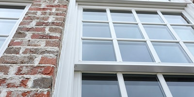 Exterior trim paint on windows, brick home - Residential painting by Nash Painting Nashville TN