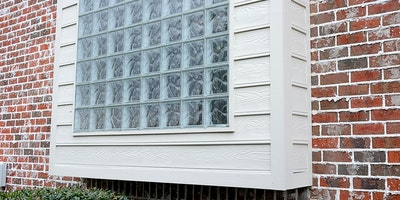 Exterior trim paint, windows, brick home, ice cube glass - Residential painting