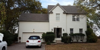 Exterior white paint on brick - Residential painting by Nash Painting Nashville TN