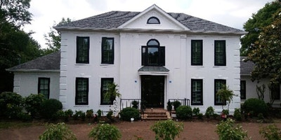 Exterior white paint, black window trim - Residential painting by Nash Painting Nashville TN