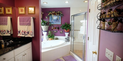 Mauve rose, white and black bathroom with large garden tub - Residential painting